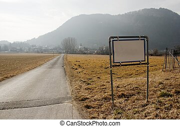 Raod - Narrow rural road with blank signboard
