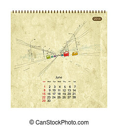 Calendar 2014, june. Streets of the city, sketch for your...