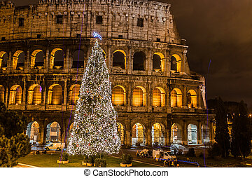 Coliseum of Rome, Italy on christmas - The Iconic, the...
