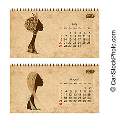 Calendar 2014 with female profile on grunge paper. July and...