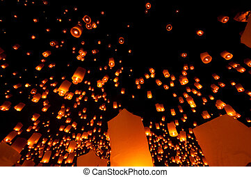 Yi Peng festival in north of Thailand
