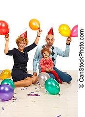 Happy family partying