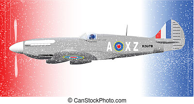Fighterplane Grunge Effect. - A Supermarine World War II...