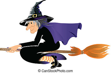 Witch on a broomstick - Halloween witch flying on a broom,...