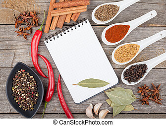 Colorful herbs and spices selection. Aromatic ingredients on...