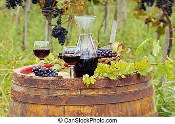 glasses and bottle with red wine in vineyard
