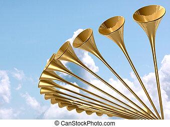 celestial, medieval, trompeta, círculo, y, cielo