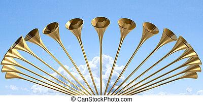 heavenly, medieval, trompete, círculo, e, céu