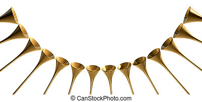 Medieval Trumpet Circle - A group of golden medieval...