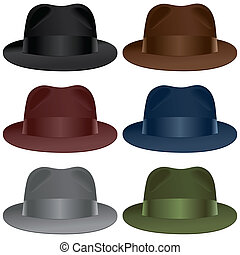 Fedora hat - A fedora hat selection in black, gray,...