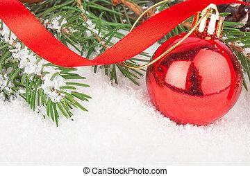 Christmas red ball on fir tree - Red Christmas ball on fir...