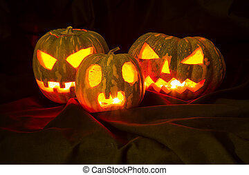 Halloween pumpkins in the dark