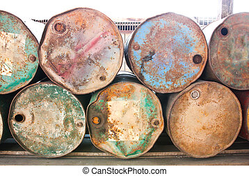 Stack of old fuel tanks