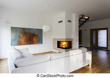Living room - Bright living room with fireplace, stylish...