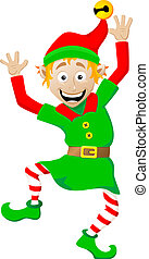 christmas elf on white background - vector illustration of a...