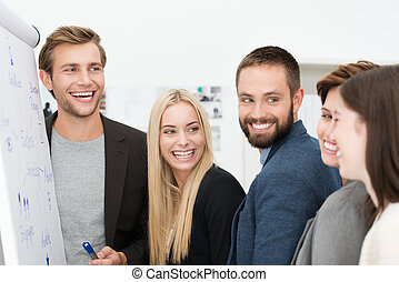 Happy laughing group of businesspeople - Happy laughing...