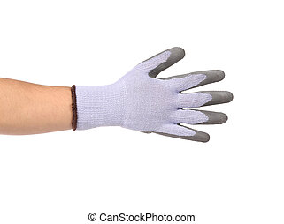 Rubber protective glove on hand - Rubber protective glove...