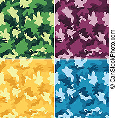 Camouflage Seamless Patterns - Colorful Camouflage Seamless...