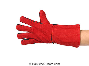 Heavy-duty red glove Isolated on a white background