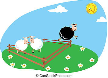 Black sheep - jumping out of the box, standing out of the...