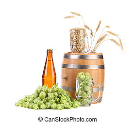 Barrel mug with hops and bottle of beer Isolated on a white...
