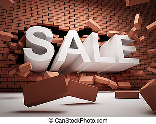 Sale concept - Brick wall is destroyed by the word of SALE