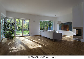 Spacious living room - Big modern living room with huge...
