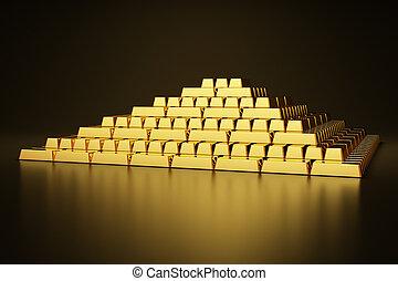 Gold bars - Pyramid of gold bars
