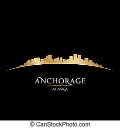 Anchorage Alaska city skyline silhouette black background -...