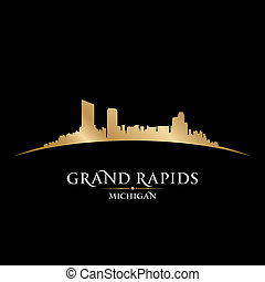 Grand Rapids Michigan city skyline silhouette black...