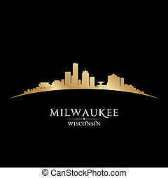 Milwaukee Wisconsin city skyline silhouette black background...