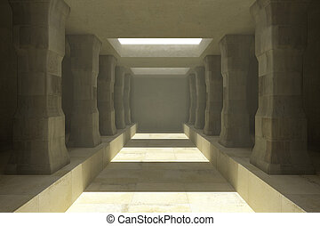 Long corridor of pillars in temple ruins