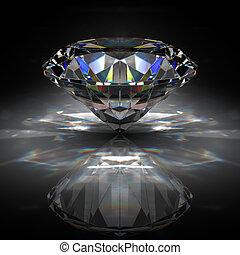 Brilliant diamond on black surface