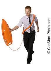 assistance - businessman with the rescue buoy