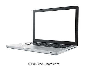 isolated computer laptop - laptop isolated on white with...