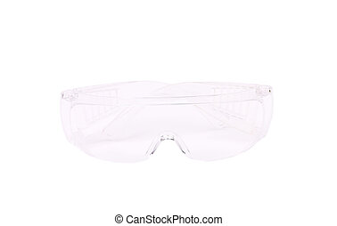 Clear protective glasses Front view Isolated on a white...