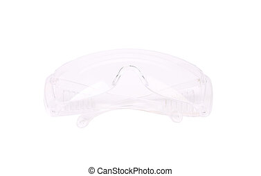 Clear protective glasses Closed Isolated on a white...