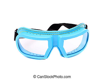Blue protective glasses Isolated on a white background