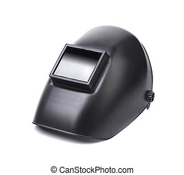 Close up of welding mask. Isolated on a white background.