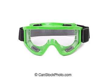 Green protective glasses Isolated on a white background