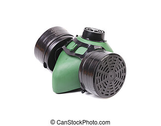 Side view of green gas mask.