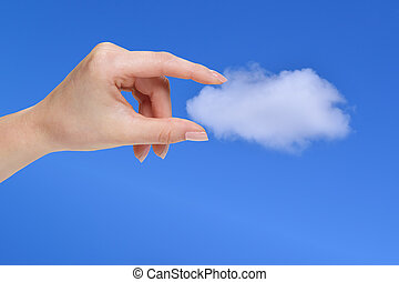 Hand holding a white cloud, concept for cloud computing