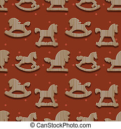 Christmas seamless pattern with rocking toys horses, vector...
