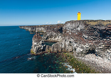 Lighthouse at Snaefellsnes - Small lighthouse on the cliff...