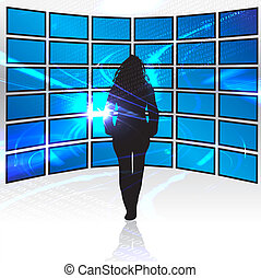 World of Digital Media - A silhouette of a woman standing in...