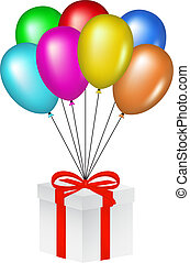 Multicolored balloons and gift box