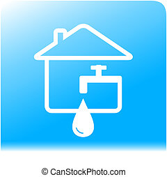 tap spigot with drop and house on light blue water...