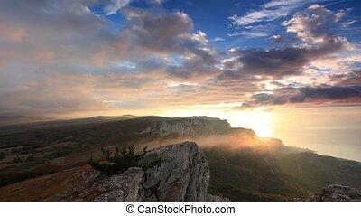 Timelapse sunrise in the mountains Ai-Petri. Alupka, Crimea,...