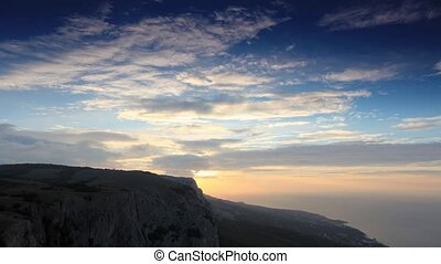 Timelapse sunrise in the mountains Merdven-Kayasy. Crimea,...