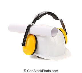 Protective ear muffs and hard hat paper roll Isolated on a...
